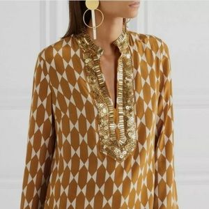 Tory Burch Gold Tile Tunic Blouse